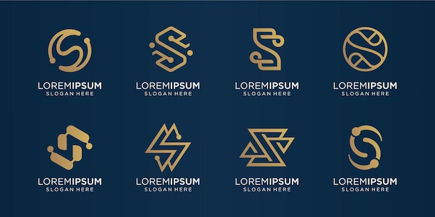 Conjunto de ouro da letra s do monograma criativo. template.icons de logotipo para negócios, luxo, tecnologia, inspiração