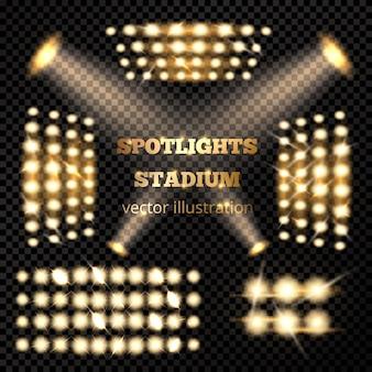 Conjunto de ouro de holofotes do estádio