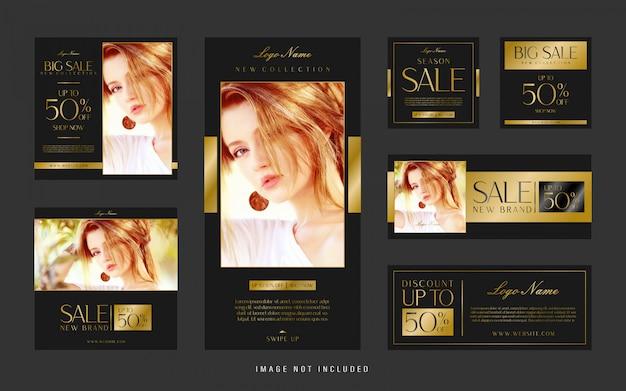 Conjunto de ouro de luxo de modelo instagram e banner