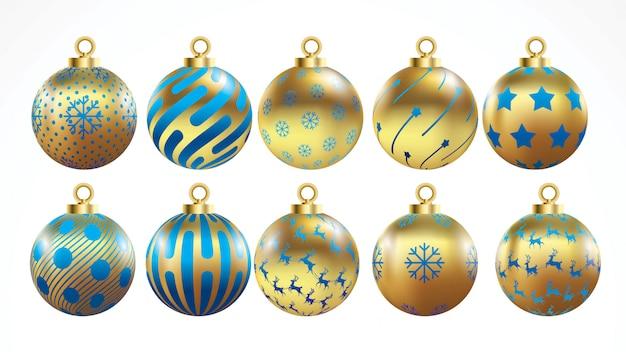Conjunto de ouro de vetor e bolas de natal azul com ornamentos