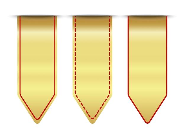 Conjunto de ouro e fita vermelha premium em branco