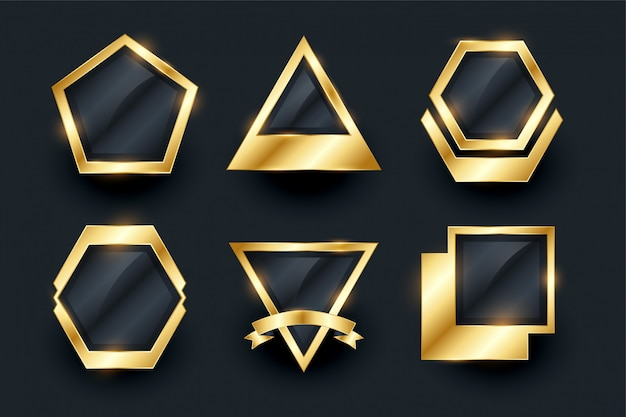 Conjunto de ouro emblemas vazios e etiquetas