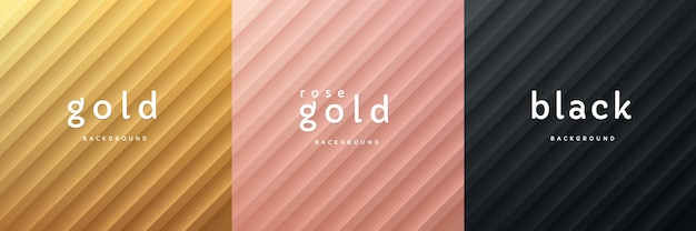 Conjunto de ouro rosa ouro 3d abstrato e preto com fundo de textura de listras diagonais