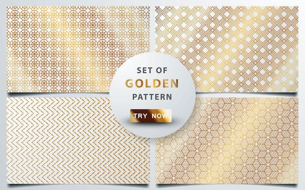 Conjunto de ouro sem costura padrão geométrico