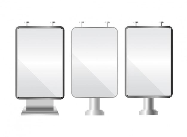 Conjunto de outdoor em branco. modelo para o seu anúncio e. caixa de luz realista e construção de publicidade.