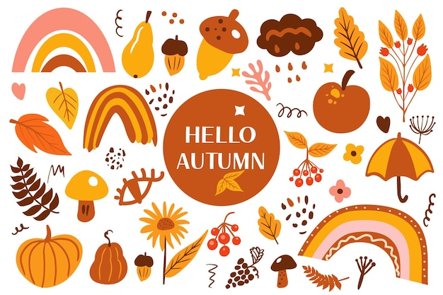 Conjunto de outono abstrato de boho. bohemian outono coleção clip art mão estilo de desenho. colheita de elementos de doodle estético contemporâneo criativo, conceito de ação de graças. ilustração vetorial.