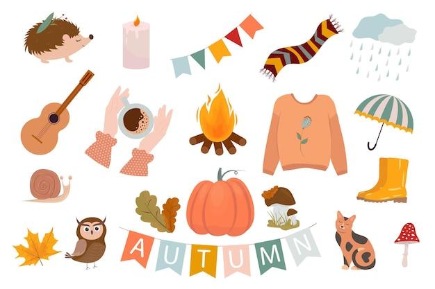 Conjunto de outono aconchegante coleção de elementos do outono cogumelos abóbora cachecol guarda-chuva