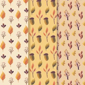 Conjunto de outono aquarela padrão