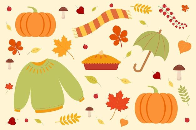 Conjunto de outono camisola cachecol guarda-chuva abóbora e folhas gráficos vetoriais