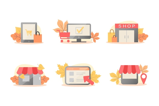 Conjunto de outono de ícones vetoriais para lojas online e offline