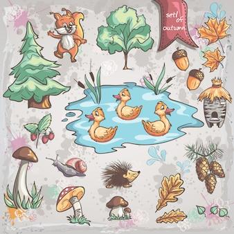 Conjunto de outono de imagens de árvores, animais, fungos para crianças. conjunto 1
