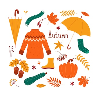 Conjunto de outono de vetor de roupas, folhas, abóboras, frutas, flores, bolotas, guarda-chuva. ilustração plana para o design de cartões postais, web, banner, adesivos