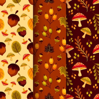 Conjunto de outono design plano conjunto