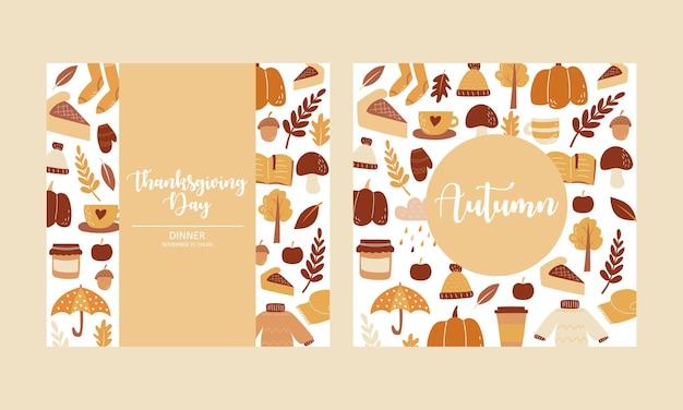 Conjunto de outono, elementos desenhados à mão. perfeito para cartão, cartaz ou convite. ilustração vetorial
