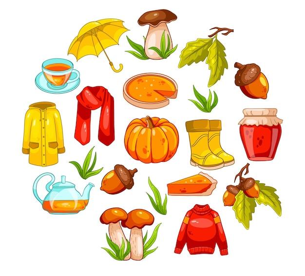 Conjunto de outono. grande coleção de itens de outono. abóbora, chá, capa de chuva, lenço, botas, cogumelos, bolotas no estilo cartoon. ilustração vetorial para design e decoração.