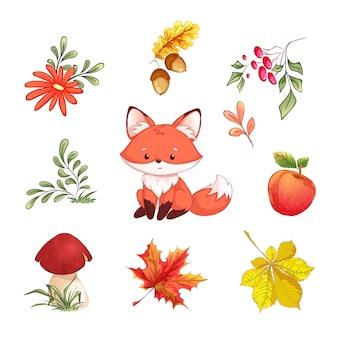 Conjunto de outono. uma raposa, folhas caídas, frutos, bolotas, maçã, cogumelo, flor.