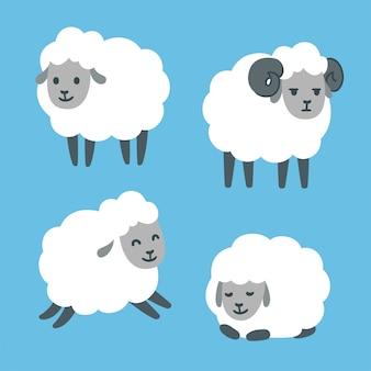 Conjunto de ovelhas bonito dos desenhos animados