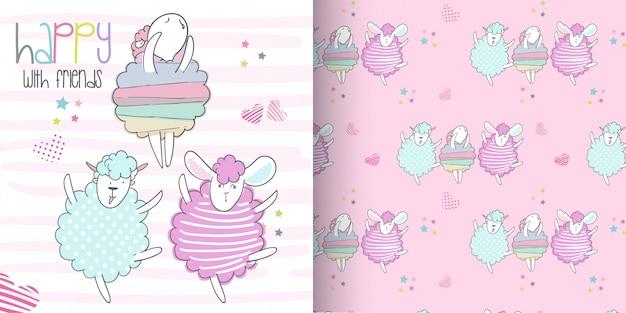 Conjunto de ovelhas bonito padrão, mão desenhar ilustração-vetor