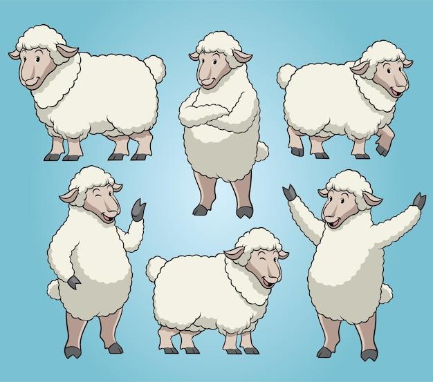 Conjunto de ovelhas com estilo de desenho animado