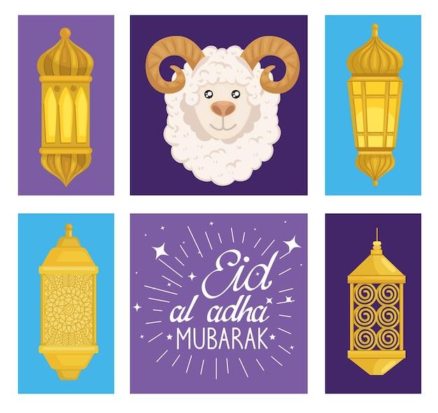 Conjunto de ovelhas e lanternas eid al adha mubarak