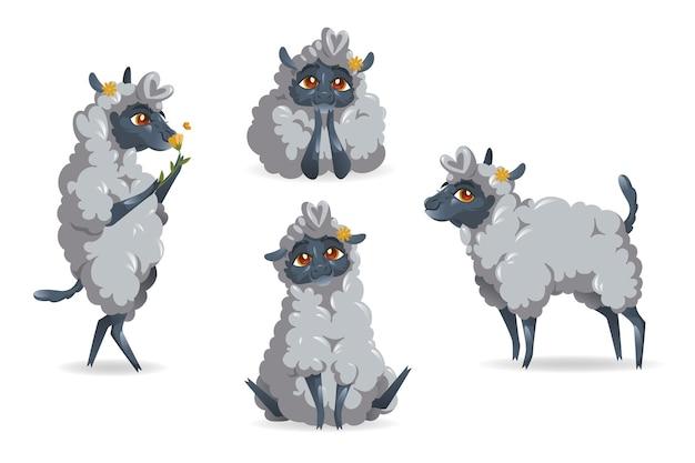 Conjunto de ovelhas fofas desenhos animados