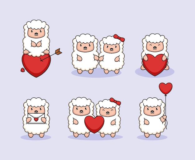 Conjunto de ovelhas fofas no dia dos namorados Vetor Premium