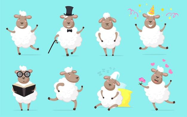 Conjunto de ovelhas fofas