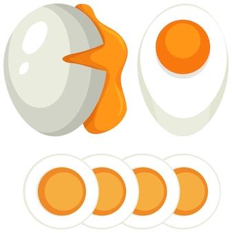 Conjunto de ovo cozido mole e duro
