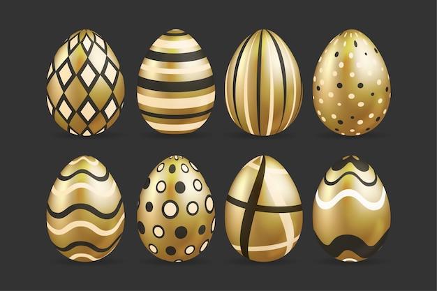 Conjunto de ovo de dia de páscoa dourado