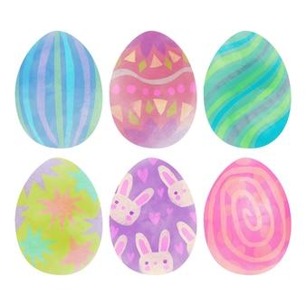 Conjunto de ovo de páscoa em aquarela