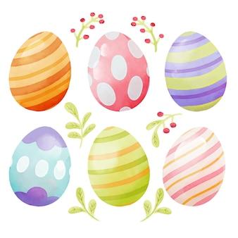 Conjunto de ovo em aquarela feliz dia de páscoa