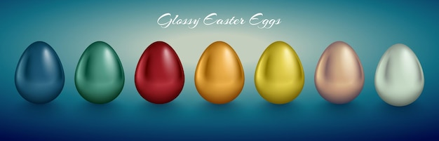 Conjunto de ovo metálico brilhante. cor dourada, prateada, azul, vermelha, verde, laranja, amarela, branca. fundo retro profundo turquesa.