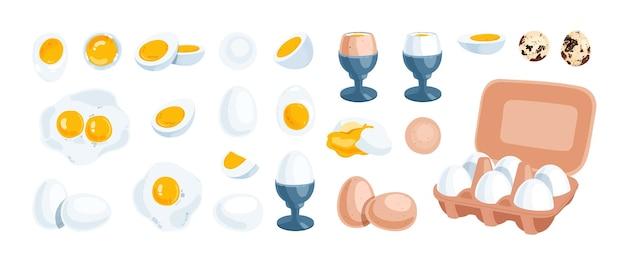 Conjunto de ovos brancos, castanhos e de codorniz. ovos fervidos, crus, inteiros, gema, benedict e ovos fritos.