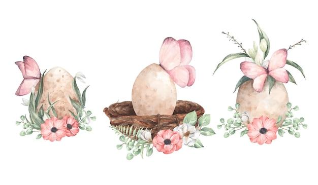 Conjunto de ovos com ramo floral. ilustração em aquarela.
