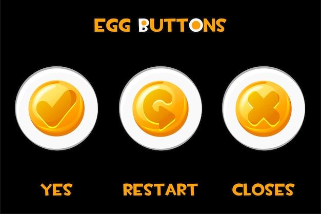 Conjunto de ovos de botões isolados fecha, reinicie, sim.