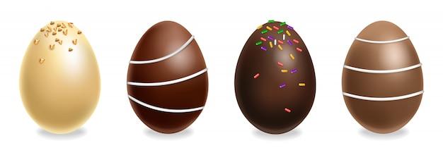 Conjunto de ovos de chocolate de páscoa