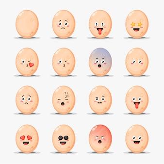 Conjunto de ovos de galinha fofos com emoticons