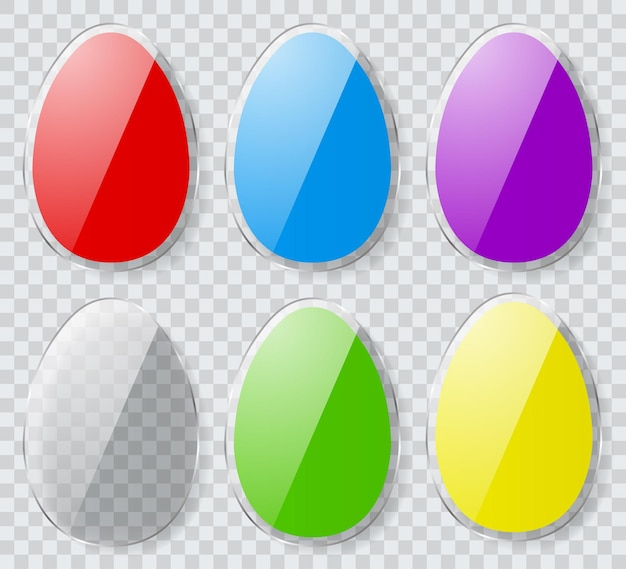 Conjunto de ovos de páscoa coloridos com bordas transparentes e sombras.