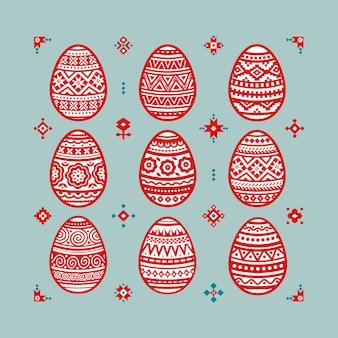 Conjunto de ovos de páscoa coloridos.