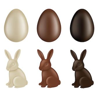 Conjunto de ovos de páscoa de chocolate e coelhos