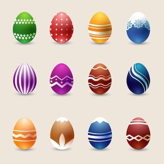 Conjunto de ovos de páscoa de cores realistas.