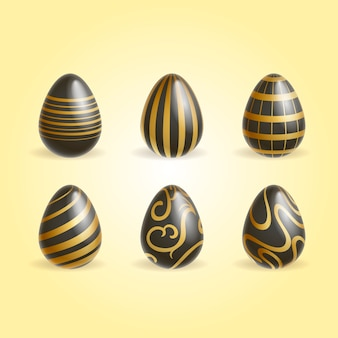 Conjunto de ovos de páscoa de ouro