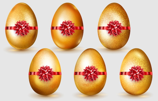Conjunto de ovos de páscoa dourados realistas com laços vermelhos, brilhos e sombras suaves no fundo branco