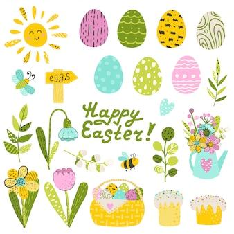 Conjunto de ovos de páscoa e flores