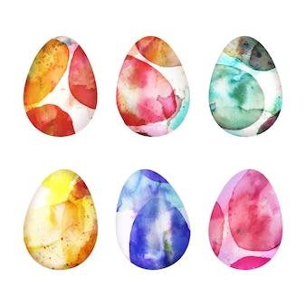 Conjunto de ovos de páscoa em aquarela design