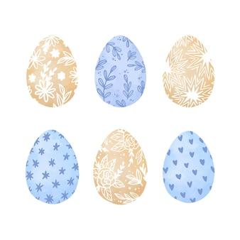 Conjunto de ovos de páscoa em aquarela