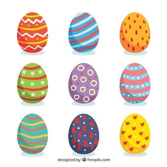 Conjunto de ovos de páscoa em estilo plano