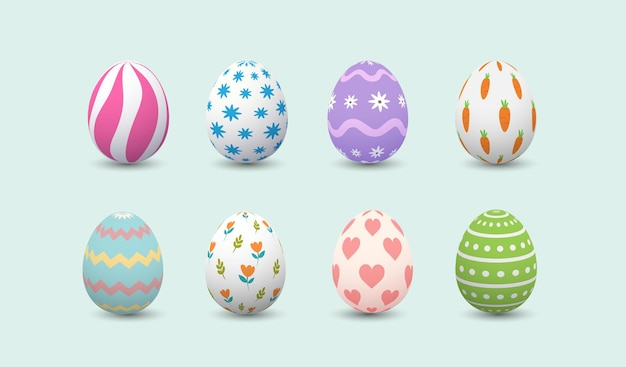 Conjunto de ovos de páscoa felizes realistas com cores diferentes em fundo branco. ovos fofos nas férias de primavera.