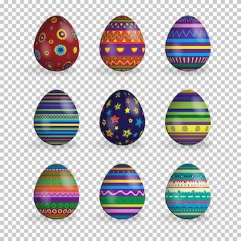 Conjunto de ovos de páscoa isolado em fundo transparente