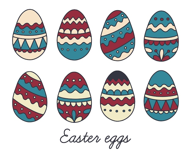 Conjunto de ovos de páscoa na ilustração de desenho à mão de estilo doodle
